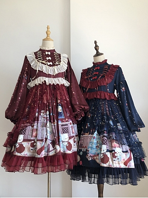 Christmas Teddy Lolita Dress Matching Overlay by Miss Yan&Dream City
