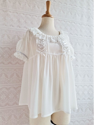 Sweet Chiffon Lace Short Sleeves Blouse by Yilia Lolita