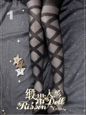 Ribbon Doll Stockings 68 cm Length By Yidhra