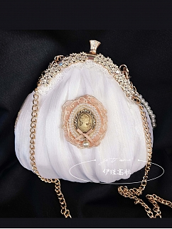 Retro White Lace Mesh Artificial Pearls Handmade Frame Bag by YiJin Sings