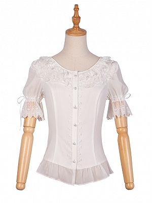 Round Neckline Short Sleeves Lolita Shirt by YINGLUOFU