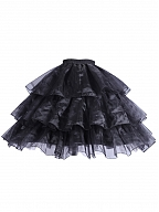 Black Tea Party Bell / A Shaped Lolita Tiered Petticoat Underskirt by YINGLUOFU