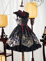 Pre-order Chinese Crane Qi Style Lace-up Back Embroidered JSK by Yotsuba's home