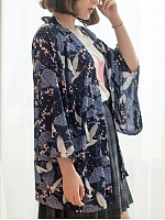 Crane and Spring Wa Sheer Chiffon Haori by Yotsuba's Home
