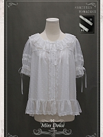 Sweet Lolita Miss Dolce Desserts Half Sleeves Flounce Neckline Blouse by Your Gift
