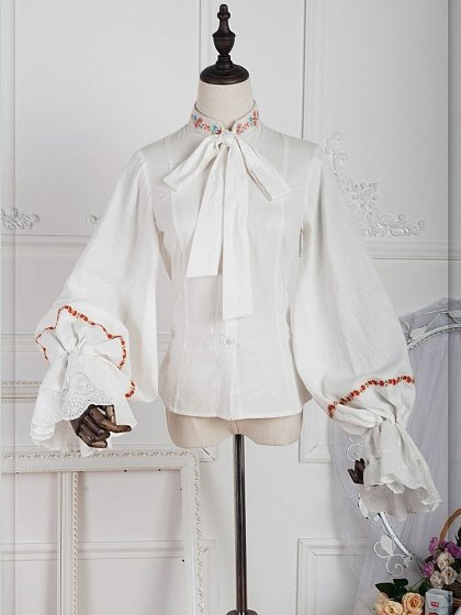 Pre-Order Anna Polka Floral-Collar Puffy Sleeve Blouse by ZJstory