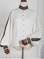 Pre-order Anna Polka National Trim Bishop Sleeve Shirt by ZJstory