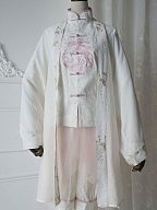 White Deer Cloud Song Qi Style Embroidered Cardigan By Zjstory