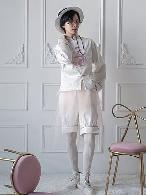 White Deer Cloud Song Qi Style Embroidered Ouji Trousers By Zjstory