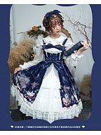 Bowknots Decorated Open Front Skirt Lolita JSK - Cat & Hydrangea by ZhiJinYuan