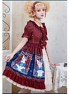 Ruffled Neckline Lace Decorated Waist Short Sweet Lolita OP - Mrs Kitten by ZhiJinYuan