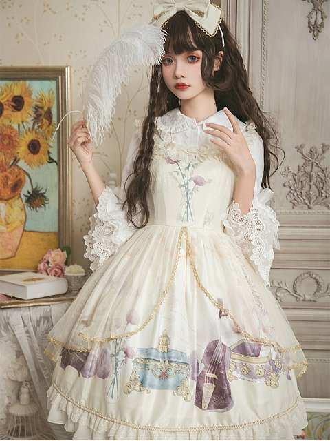 Gold Trim Sheer Overlay Skirt Ruffled Neckline and Straps Lolita JSK - Old Dreams by ZhiJinYuan