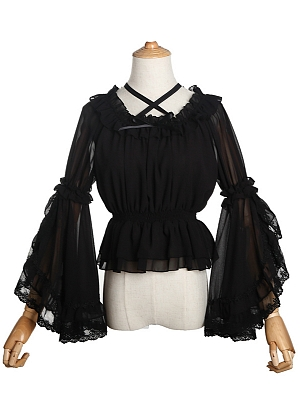 Sweet Off the Shoulder Trumpet Sleeves Blouse by ZhiJinYuan