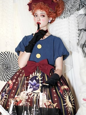 Big Buttons Decorated Bodice Sweet Bowknot Decorated Waist Lolita OP - Rabbit Circus by ZhiJinYuan