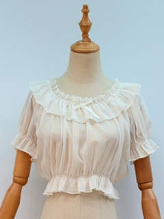 Ruffled Neckline Short Sleeves Cropped Blouse by ZhiJinYuan