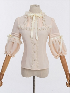 Bubble Mid-length Sleeves Sweet Lace Decorated Lolita Shirt - Crowned Bear by ZhiJinYuan