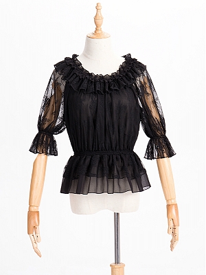 Ruffled Neckline Lace Summer Blouse by ZhiJinYuan