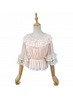Lace Decorated Neckline and Sleeves Blouse by ZhiJinYuan