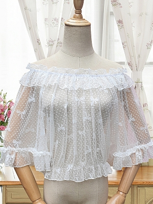 Off The Shoulder Middle Sleeves Cropped Sheer Blouse by ZhiJinYuan