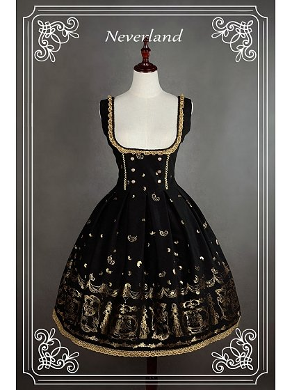 Custom Size Available Open Bust Corset Lacing Lolita JSK - Golden Swan Lake by Souffle Song