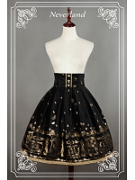 High Waist Lace Up Lolita Skirt / SK - Golden Swan Lake by Souffle Song