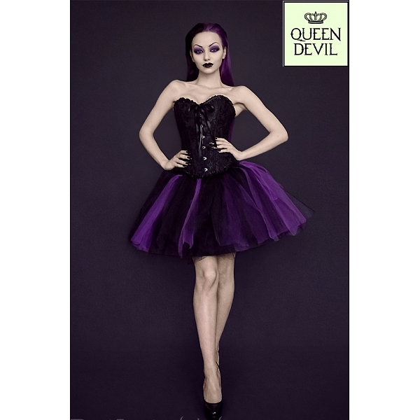 Ruffled Trim Black Corset And Short Purple And Black Ball