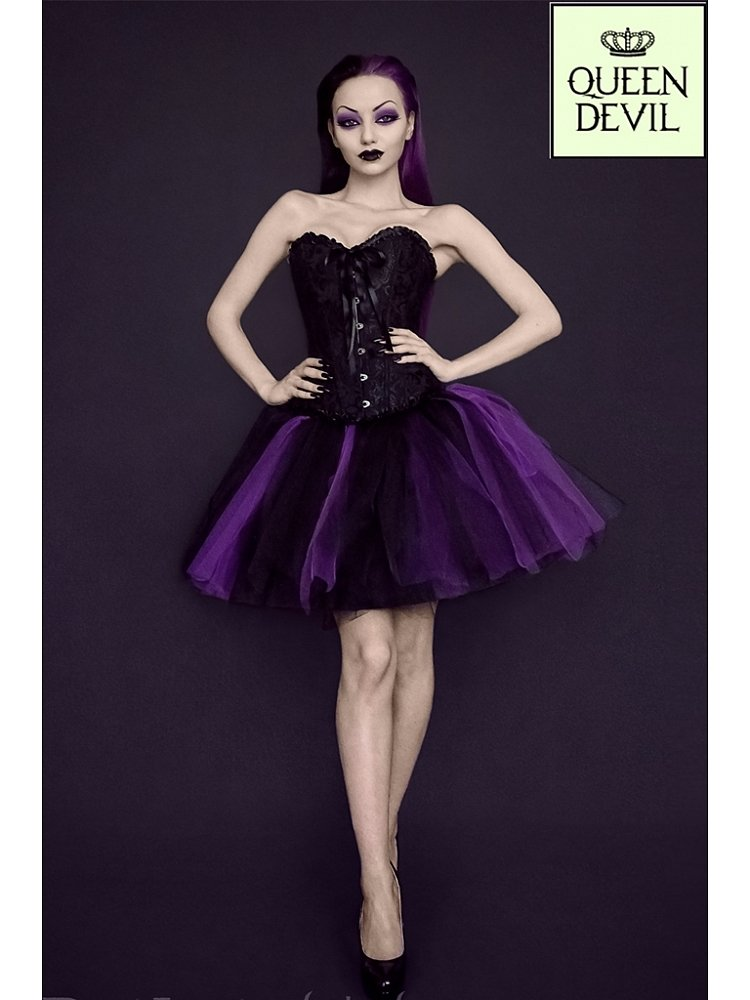 Ruffled Trim Black Corset and Short Purple and Black Ball Gown Skirt ...