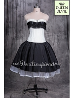 Chic Black & White Corset Knee Length White Longer Length Hemline Black Skirt Prom Dress - Queen Devil