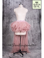 Nude Color Short Ruffled Skirt with Floor Length Train High-low skirt - Queen Devil