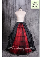 Front Open Floor Length Gothic Inspired Red with Black Overlay Skirt - Queen Devil