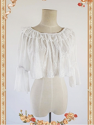 Ruffled Lace Decorated Round Necklilne Trumpet Sleeve Sheer Lace Short Blouse by Infanta