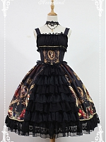 Layered Open Front Ruffled Decoration at Bust Lace Decorated Gorgeous Skirt Hemline JSK - Magic Night in Museum by Souffle Song