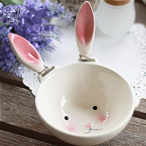 Removable Bunny Ear Ceramic Bowl
