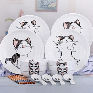 Cartoon Cat Ceramic Dish and Bowl Set
