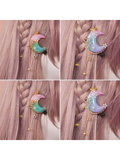 Colorful Moon with Chain Hairpin