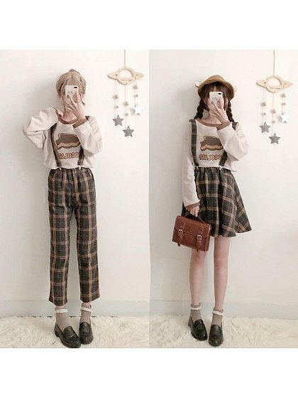 Chocolate Themed Plaid Suspender SK or Trousers