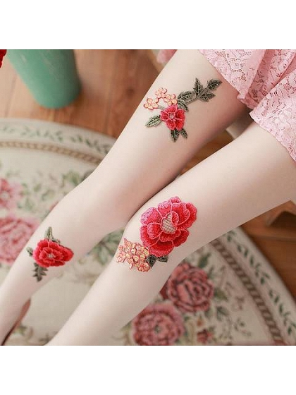 Flower Embroidered Pantyhose