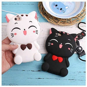 Black or White Smiling Cat Phone Case