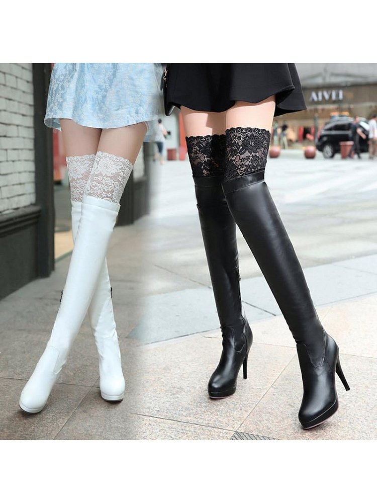 2999d859226 Lace Trim Over-Knee Length Boots
