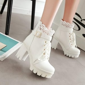 Lace Trim Block Heel Ankle Boots