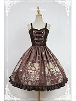 Custom Size Available Adjustable Straps Natural Waist Steampunk Lolita JSK - Steampunk Cat by Souffle Song