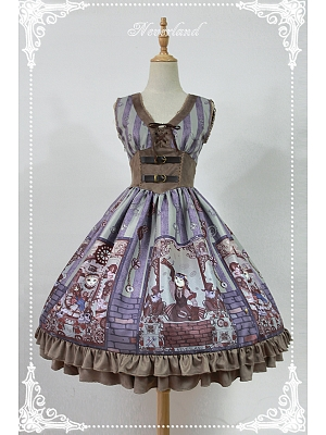 Custom Size Available High Waist V-neck Steampunk Lolita JSK - Steampunk Cat by Souffle Song