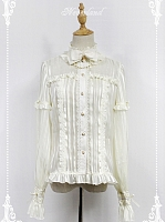 High Collar with Bow and Chain Decoration Chiffon Long Sleeves Lolita Shirt by Souffle Song