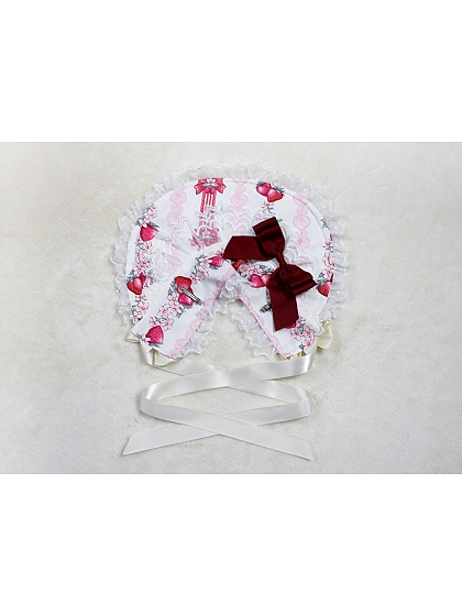 Rose's Valley Strawberry And Bunny Collection Matching Bonnet