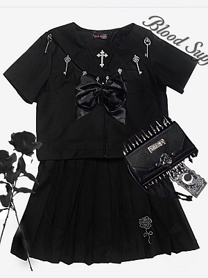 Gothic Metal Accessories Short Sleeves JK Uniform Top and Skirt Set by Blood Supply