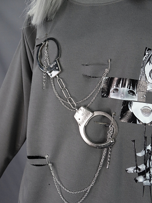 Punk Metal Toy Handcuffs Chain Gray Sweatshirt by Blood Supply