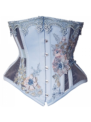 Fairy Style Sky Blue Floral Corset by Annzley Corset
