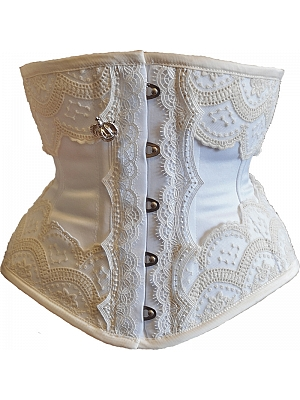 White Lace Wide Corset by Annzley Corset