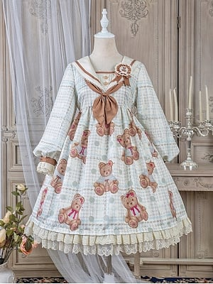 Navy Bear Long Sleeves Lolita Dress OP by Alice Girl