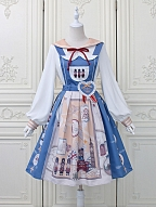 Travel to London Classic Lolita Overall Dress Skirt by Alice Girl